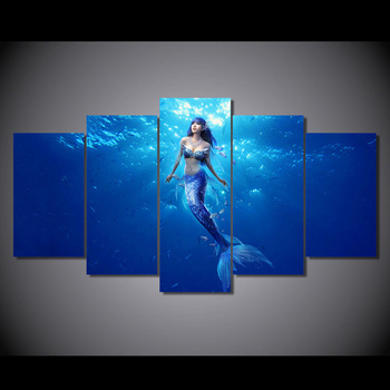 5 piece Canvas Painting Deep sea mermaid  Art Home Decor for Living Room HD Printed