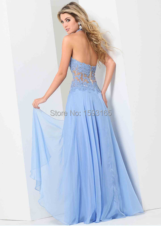 860f53eab3b Halter Top Lace Applique Sheer Bodice Periwinkle Winter Formal Dress Prom  Dress 2015-in Prom Dresses from Weddings   Events on Aliexpress.com