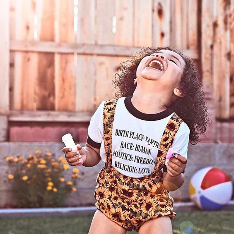 NewSummer O-cou pullover décontracté Bébé Filles décontracté Lettre Imprimé À Manches Courtes hauts Chemisier + Sangle Short + Bandeau Costumes Costume Ensemble