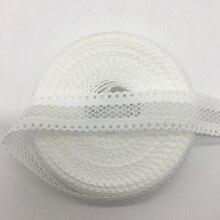 5 ярдов/партия 5/8 мм «15 мм белый двусторонний кружево сетки раза над эластичный спандекс лента