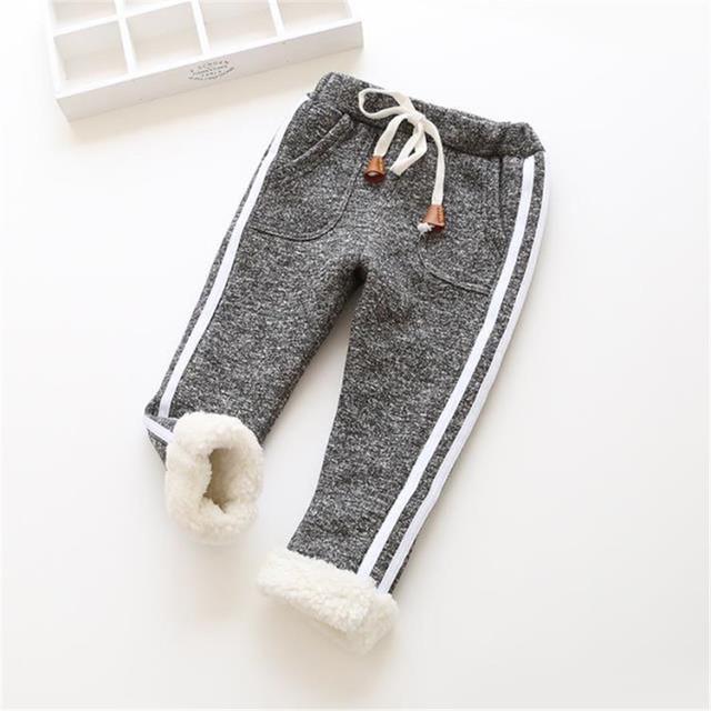 BibiCola kids winter warm sports pants baby boy girl pants newborn baby trousers plus thick velvet long pants Children legging