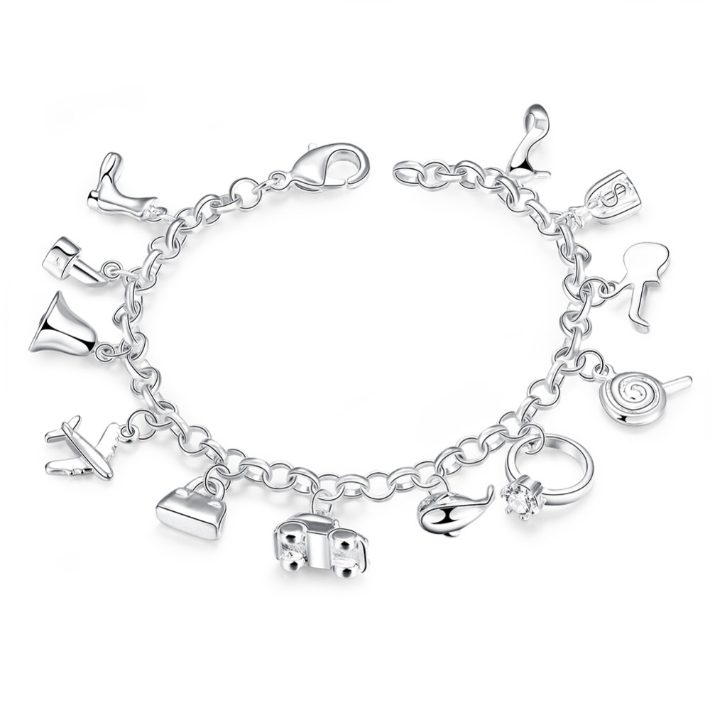 GB378 Lovely 925 Sterling Silver Charm Bracelet for women Jewelry Wedding Engagement