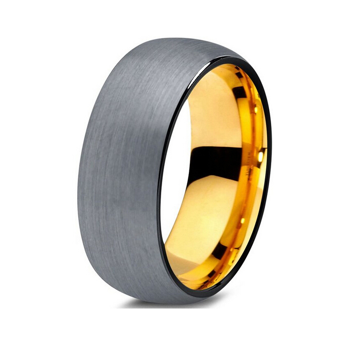 Very Nice Black Gold Color Tungsten Wedding Band With Domed Brushed Finish In Bands From Jewelry Accessories On Aliexpress Alibaba Group