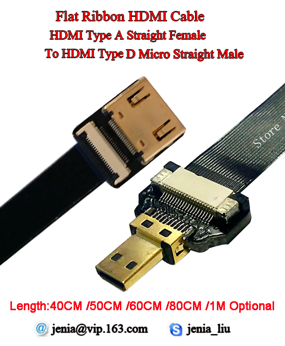 40/50/60/80/100CM Ultra Thin Shielded Cable HDMI Ribbon Flat Soft Standard Straight Female to Male Micro Straight Cable FPV 40 50 60 80 1m ultra thin soft flexible hdmi ribbon flat cable fpv type a straight female to male standard up angled 90 degree