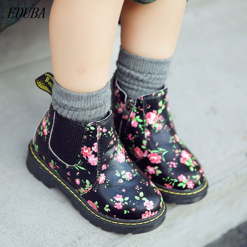 Winter Children Shoes PU Leather Waterproof flower Martin Boots Kids Snow Boots Brand Girls Boys Rubber Boots Fashion Sneakers kids freezing cold winter snow boots casual boys martin boots girls warm sneakers shoes fashion real leather children snow boots
