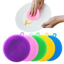 Escova de limpeza de silicone, esponja de lavar louça multifuncional para cozinha, escova de cozinha para limpar frutas e vegetais