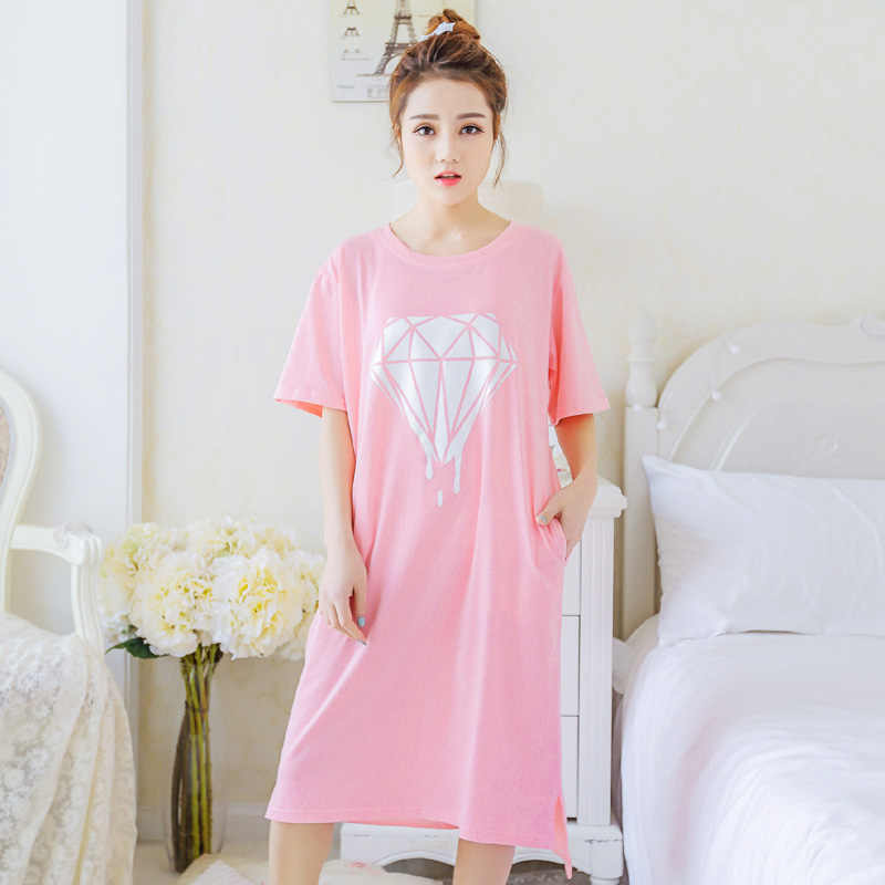 ... Yidanna 2018 women nightgown cotton sleepshirt cute sleep clothing  short sleeved sleepwear female pyjamas girls nightwear ... aec7ad642