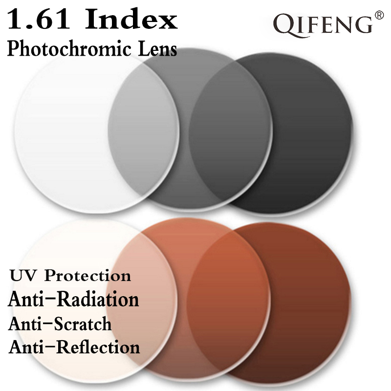 Lentille de Prescription photochromique asphérique 1.61 CR-39 myopie presbytie lentille dure verres anti-réfléchissants 2 pièces QF137