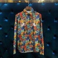WA06360BA модные Для мужчин рубашки 2018 взлетно посадочной полосы Элитный бренд Европейский Дизайн вечерние стиль Мужская одежда