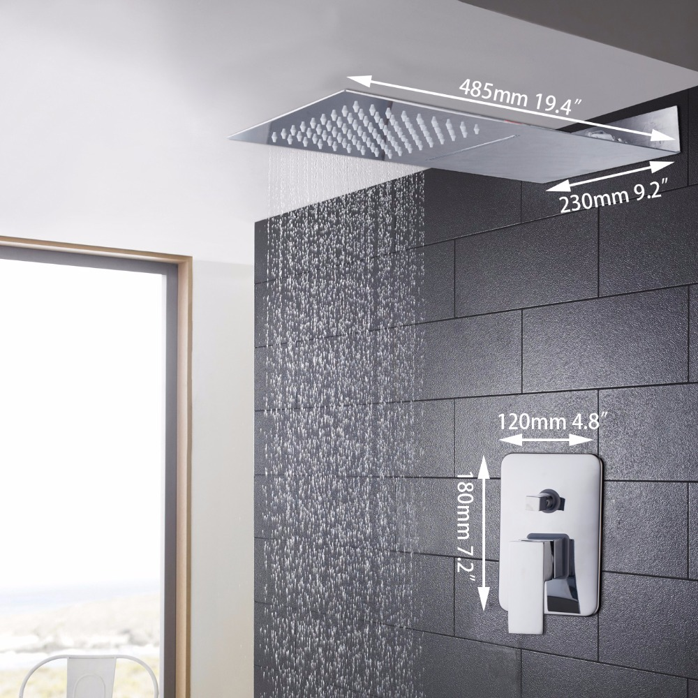 Bathroom 2 Function Shower Faucet. Shower Set. Chrome Finish Brass Made Shower Set.Rain Shower Head Tub Mixer Faucet