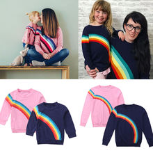 2018 Brand New Family Matching Sets Daughter Mother Autumn Sweatshirt Tops Long Sleeve Rainbow Print Pullover Top Tees 2 Style