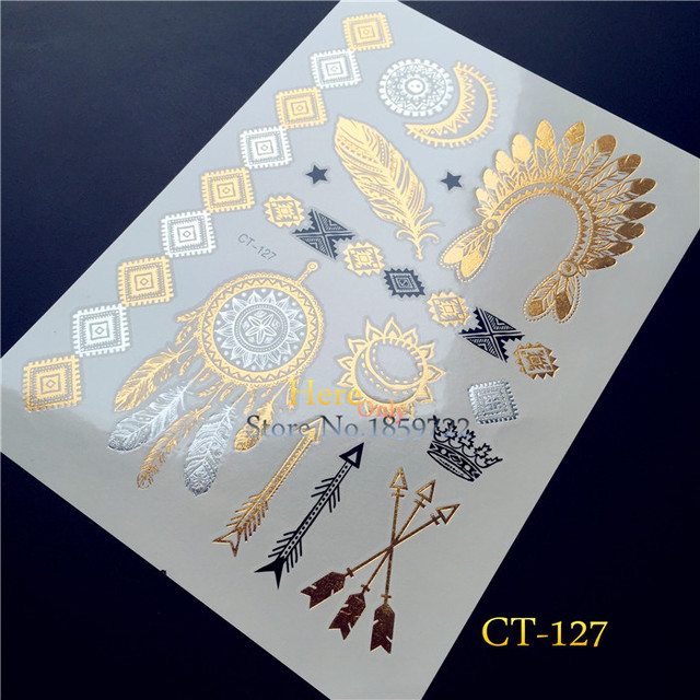 1PC Flash Temporary Tattoo Gold Silver Henna Tattoo Dreamcatcher HCT127 Indian Arrow Queen Crown Feather Tattoo Bracelet Sticker