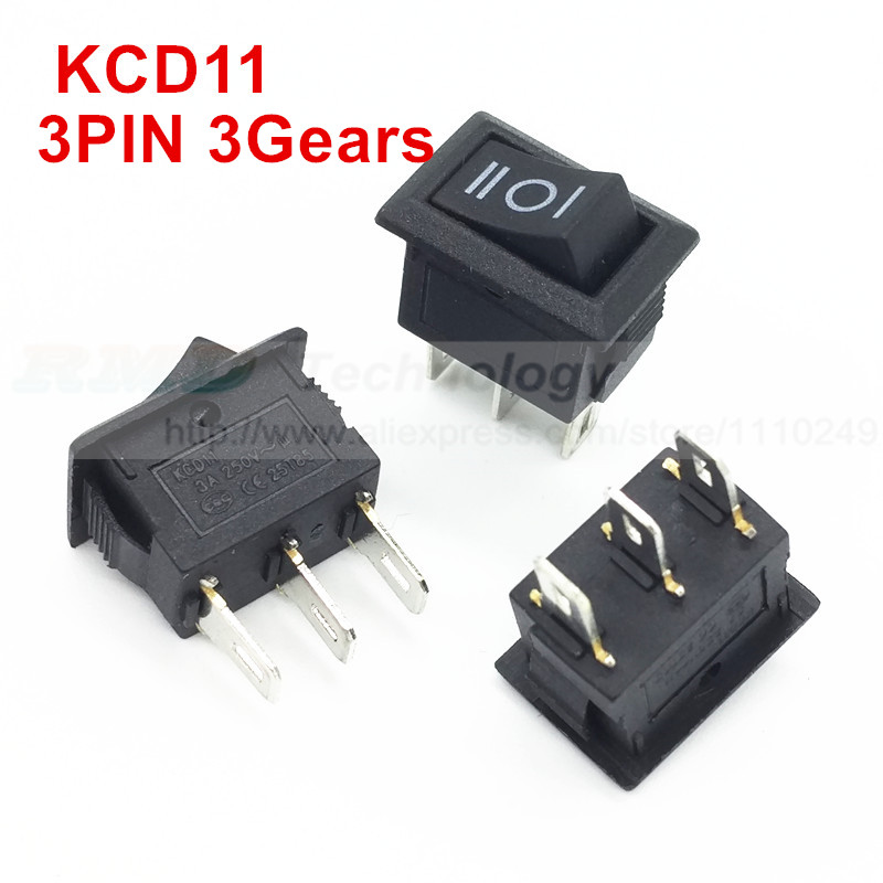 10pcs/lot Delicate Rocker Switch KCD11 10 * 15 AC 250V 3A 3 Pin 3 Gears Black ON/OFF/ON I/O SPDT Snap in Mini Boat,Free shipping 5pc lot free shipping new long flat handle 3 pin on off on spdt cqc rohs silvery point rocker toggle switch ac 6a 125v 3a 250v
