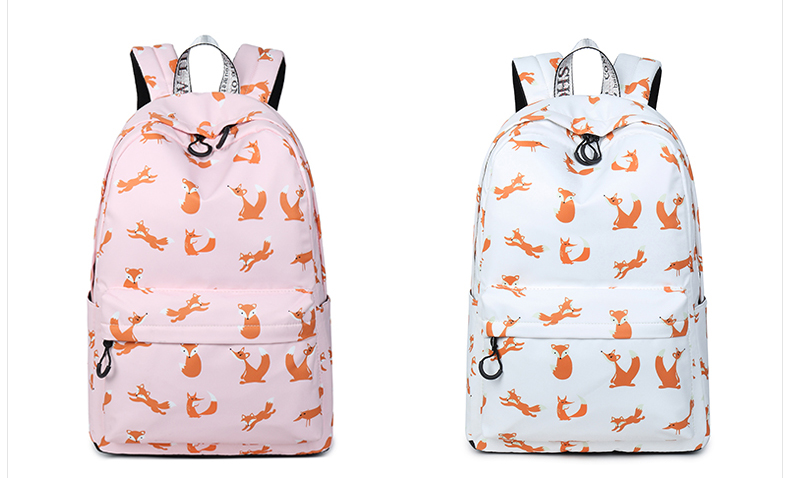 WINNER Cute Animal Fox Printing School Backpacks Waterproof Women Bag Laptop Backpack Female Mochila Bolsas E Sacolas (33)