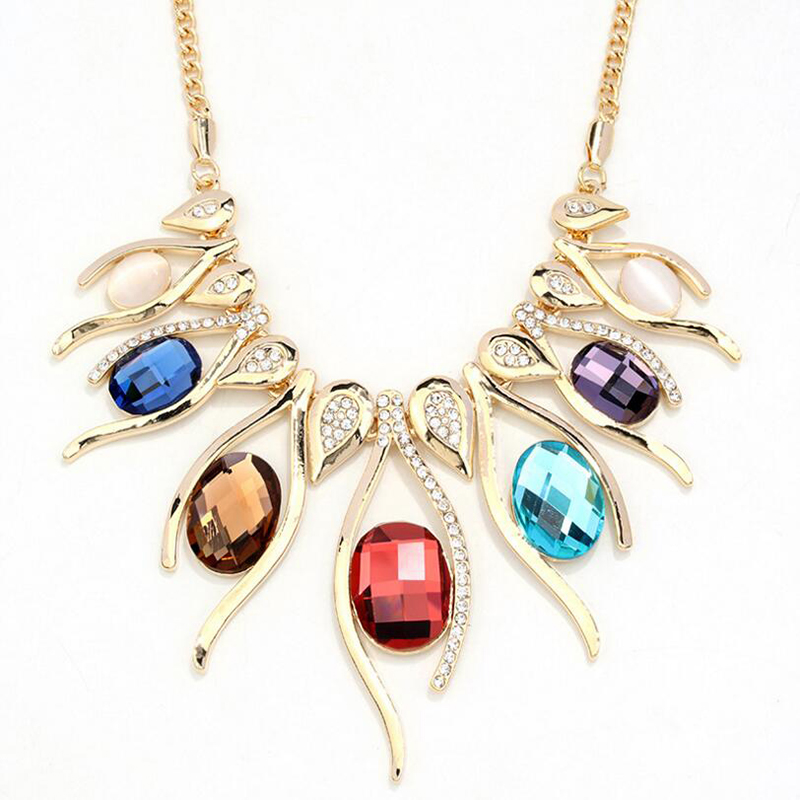 Hyperbole Big Necklaces & Pendants For Women Vintage Egg Shape Crystal Flower Pendant Necklace Fashion Round Stone Fine Jewelry