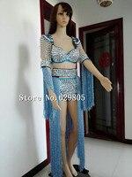 Plus Size Big Crystals Blue Bra Short Tail Costume Dj Female Singer Rhinestone Tassel Fashion Epaulets Dance Costume Party Dress