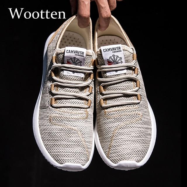 2019 Plus Size homens sapatos casuais designer de moda branco formadores de verão Confortável Respirável Malha homens adultos sapatilhas # V8