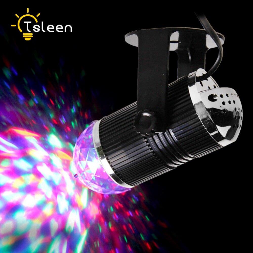 TSLEEN disco light 3W LED RGB Stage Light Auto Rotating Crystal Laser DJ Lamp Digital Magic Ball Party Disco Light Sound Active