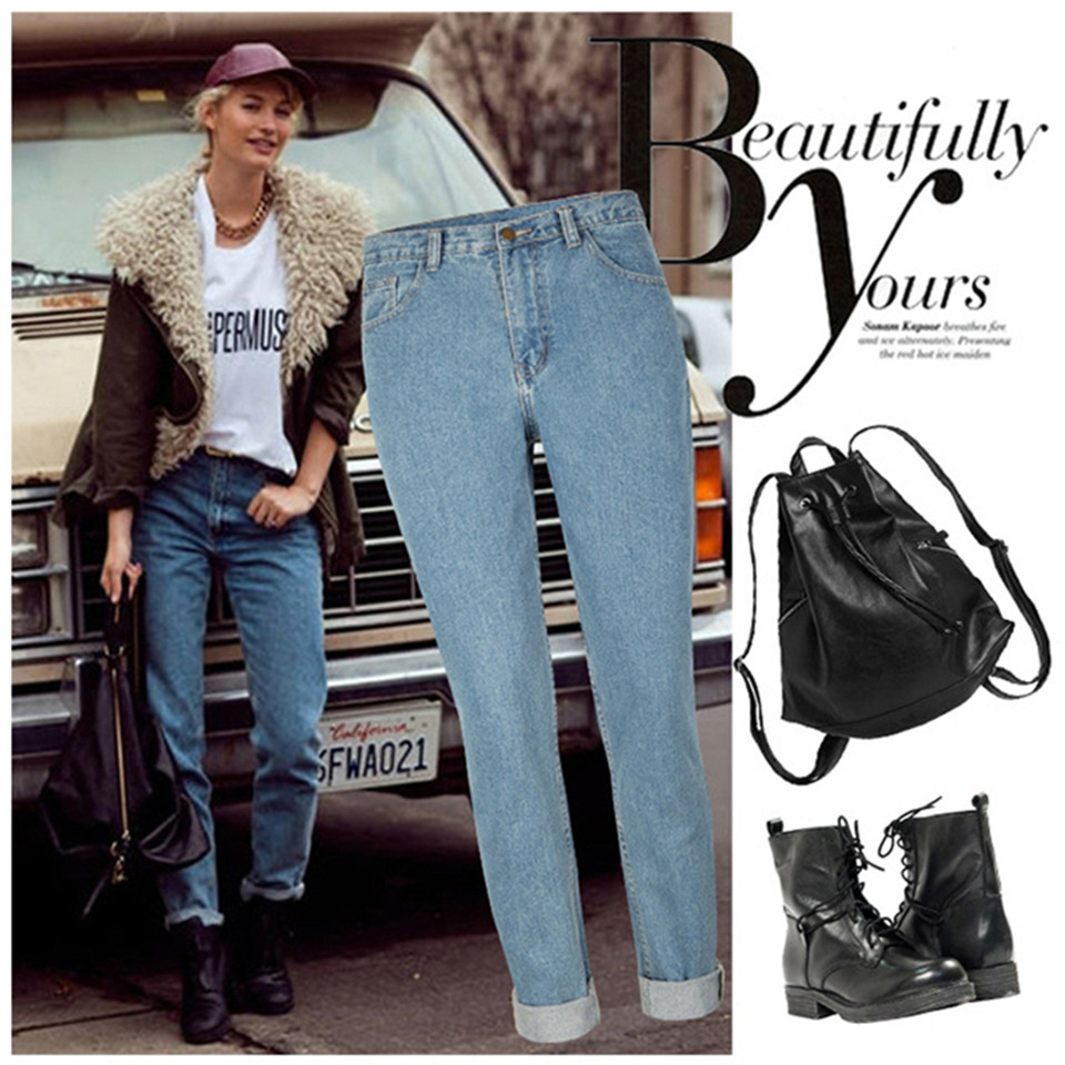 Boyfriend New Arrivals Jeans Woman High waist Cotton Retro Jeans High Quality Loose Straight Trousers Plus