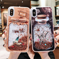 Блестящий динамичный, жидкий песок, жидкий чехол для iPhone 7 6 6s 8 Plus X XS Max XR, милый флакон духов, чехол для телефона