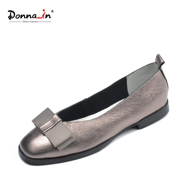 Donna-in Ballet Flats Shoes Women Genuine Leather Ballerina Summer Casual Black Red Slip on shoes for Women slipony mocasin 2018