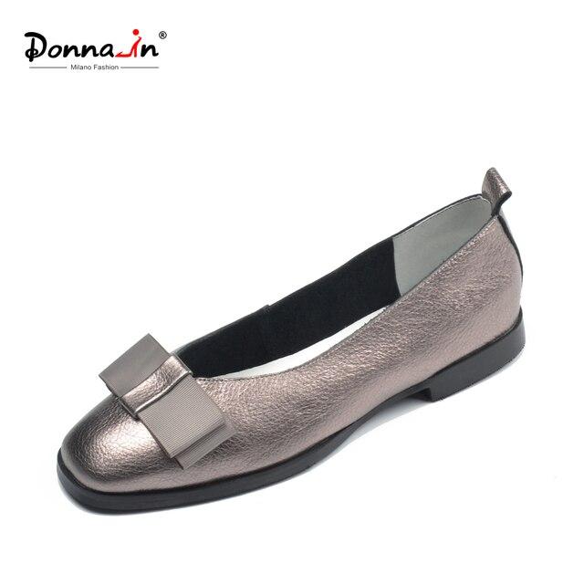 Donna-in Bale Flats Ayakkabı Kadınlar için Hakiki Deri Balerin Yaz Rahat Siyah Kırmızı bağcıksız ayakkabı Kadın slipony mocasin 2018