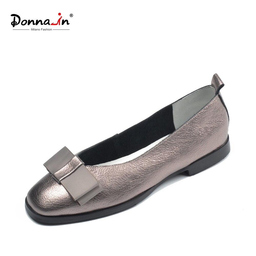 Donna-in Ballet Flats Shoes Women Genuine Leather Ballerina Summer Casual Black Red Slip on shoes for Women slipony mocasin 2018