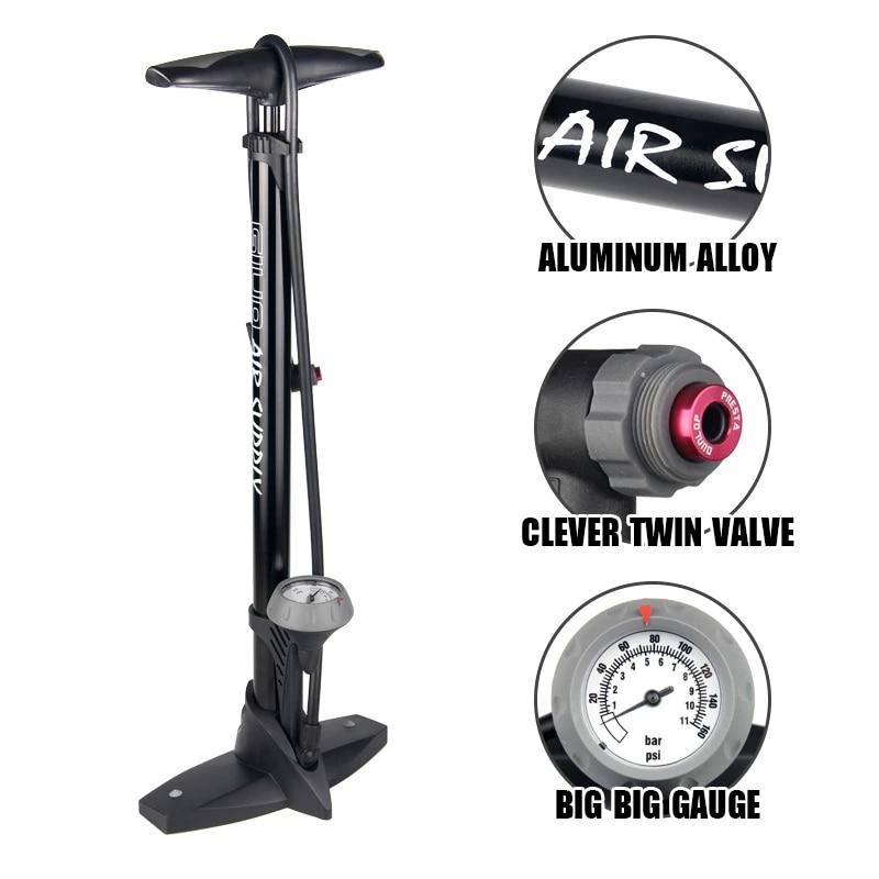 Bike Pump Mini 160psi Schrader Presta Valve Foot MTB Bicycle Inflator Tire Pump