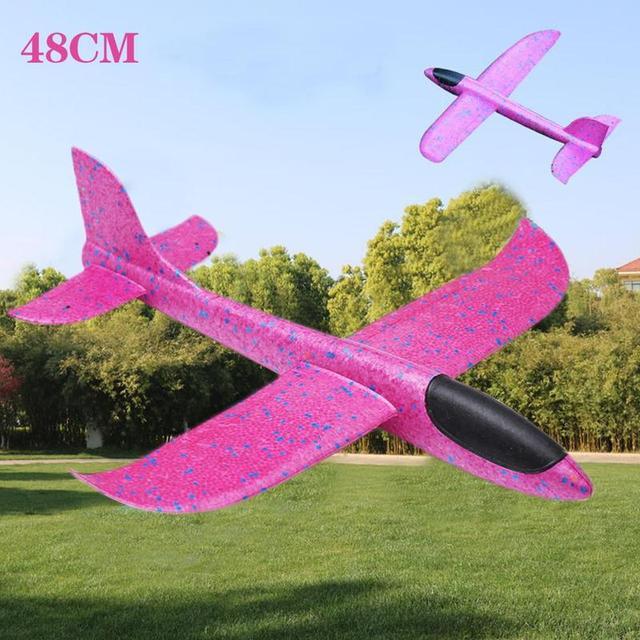 48 ซม.โยนบินเครื่องร่อนเครื่องบินโฟมเครื่องบิน EPP Resistant เครื่องบินเกมเด็กโฟมเครื่องบินพลาสติก