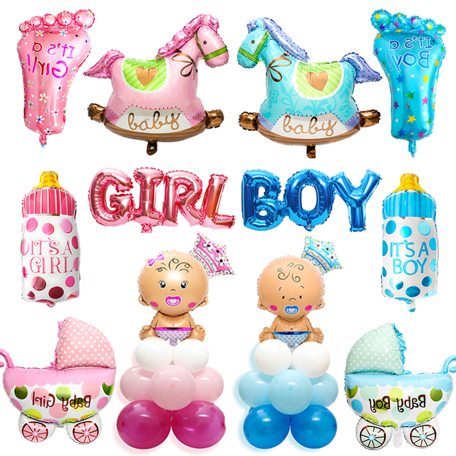 Heronsbill его девочка мальчик Фольга Воздушный шар для Бэйби Шауэр украшения для вечеринок Babyshower пол показать крещение игры розовый синий