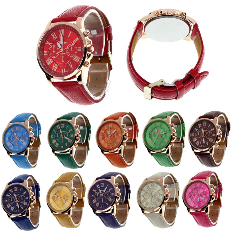 Feitong new casual watch women dress watches roman pu leather quartz wristwatch for women men relogio