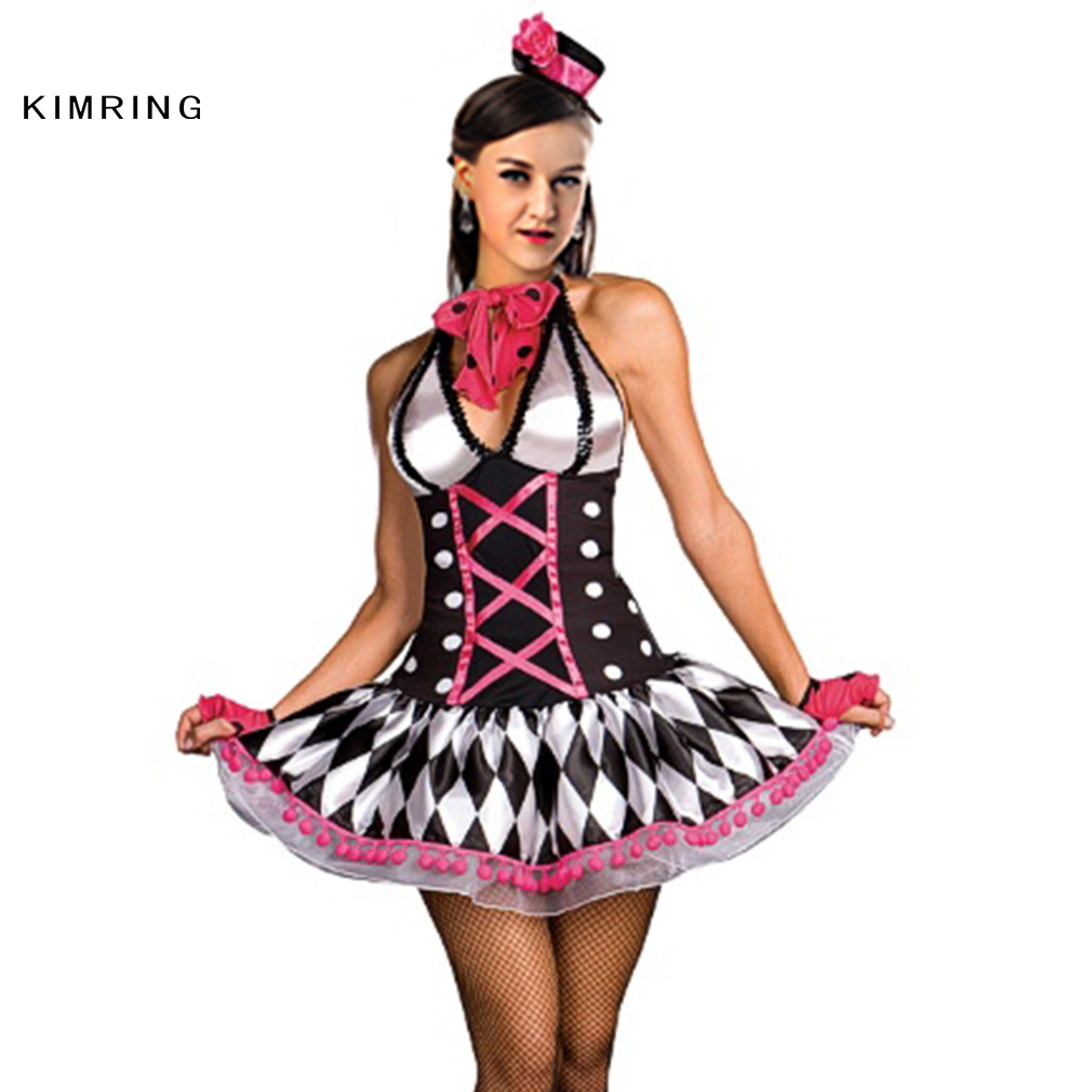 kimring sexy harlequin halloween costume circus clown cosplay women magician adult costume fancy dresschina - Halloween Costumes Harlequin