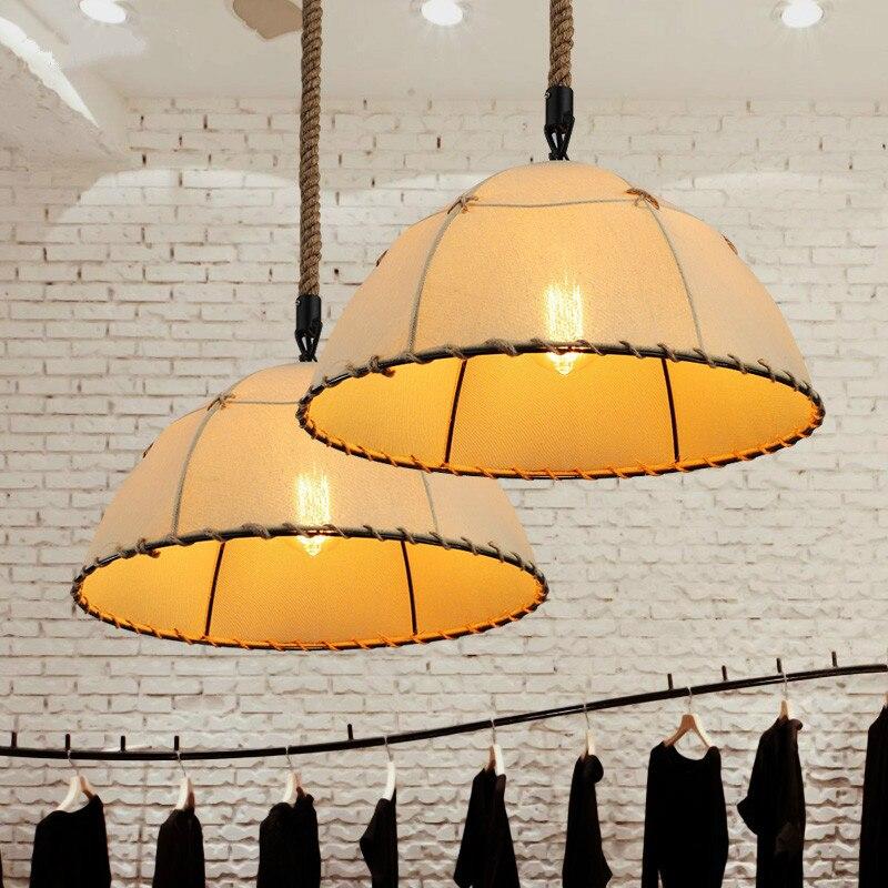Modern minimalist creative personality fabric E27 bulb pendant light American retro restaurant handmade rope pendant lamp ark light modern creative  handmade
