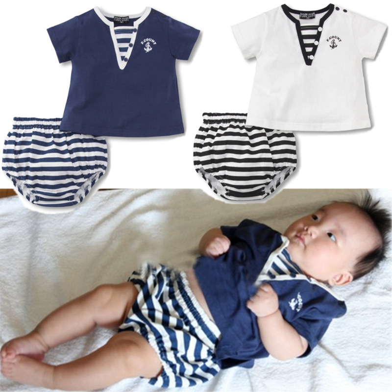 2013 NEW Style Summer Baby Boys Navy Short-sleeve Set Children Casual Clothing Wear T-shirt + Brief Set 4sets/lot  Free Shipping