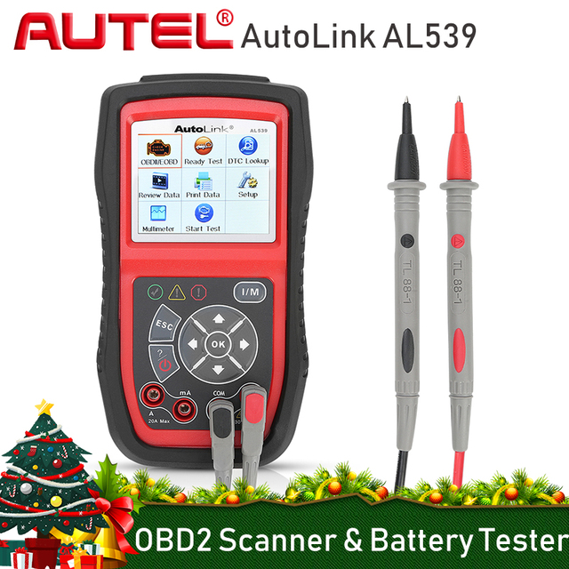 AUTEL AutoLink AL539 OBD2 Car Code Reader Scanner Electrical Voltage Test Tool AVO Meter Auto Diagnostic Tool Battery Tester