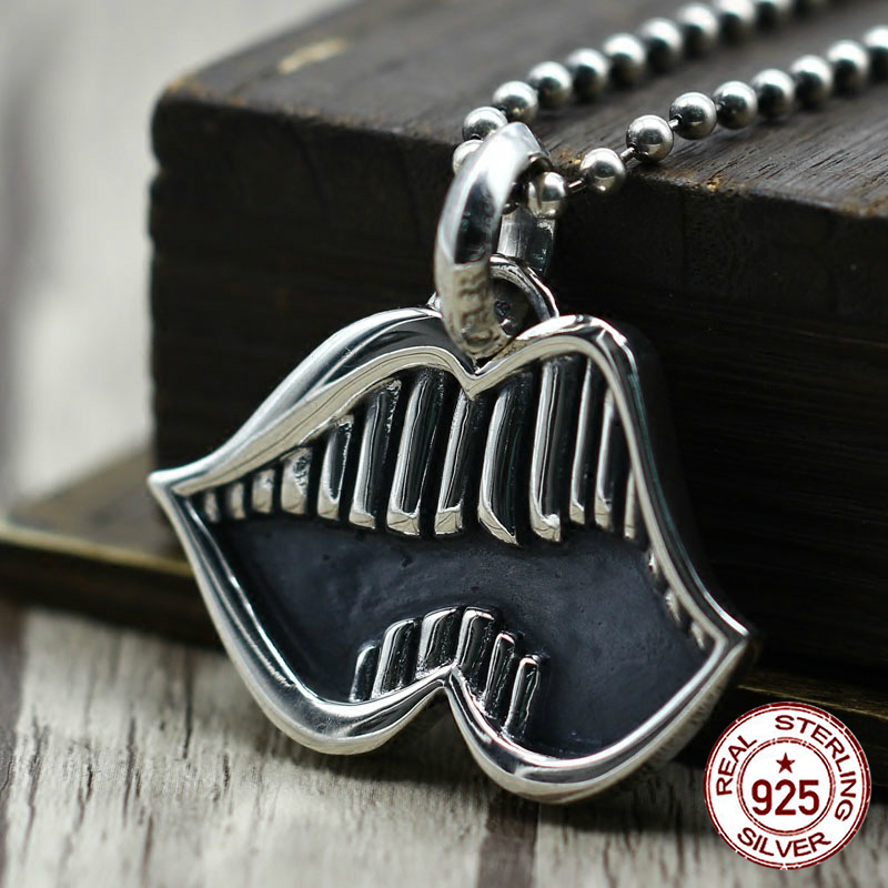 S925 sterling silver men's pendant personality fashion hip-hop style mouth teeth modeling punk style 2018 new gift to send lover fashion style