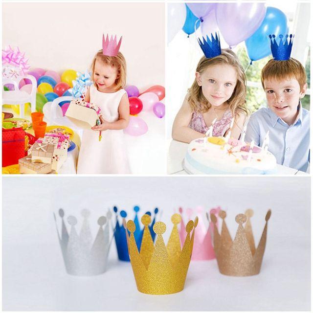6 Pz set Bambini Cappelli Berretto Per Adulti Carta Di Compleanno Corona  Principe Principessa Della 0b4226bc1cdb
