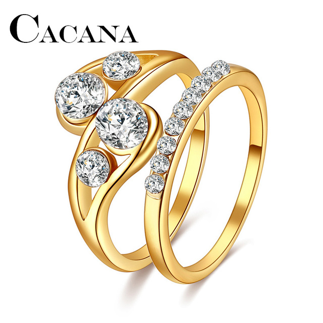 CACANA 1set his her Golden Engagement Ring Wedding Ring Set Men