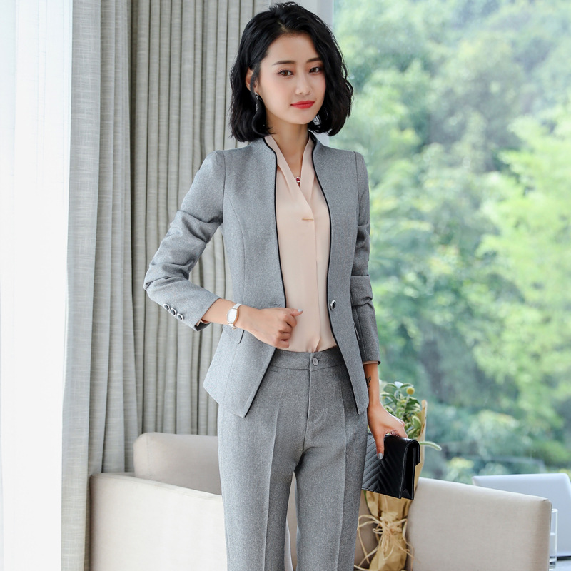 IZICFLY Formal Trouser Set Uniform Designs For Women Office Blazers Feminino Spa Elegant Business Pant Suits Plus Size 4XL 5XL