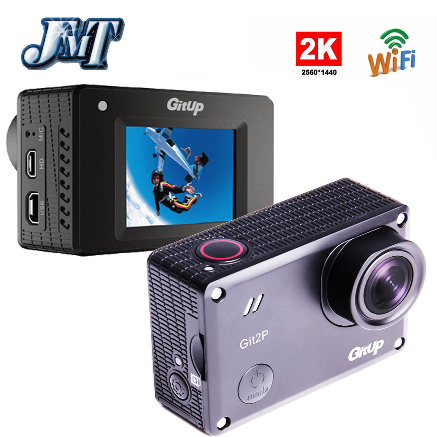 JMT GitUP Git2P Action Camera Standard 2K Wifi Sports DV PRO Full HD 1080P 30m Waterproof mini Camcorder 1.5 inch Novatek 96660 free shipping gitup git2 16m ultra 2k wifi dv sports action helemet camera 18 in 1 accessories