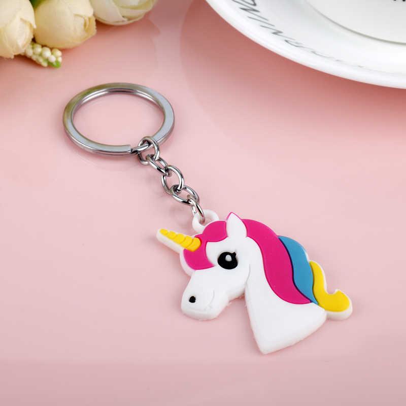 LLavero de unicornio de PVC suave bonito con llavero de caballo de varios estilos, llavero de aleación para mujer, joyería de regalo para niñas -50