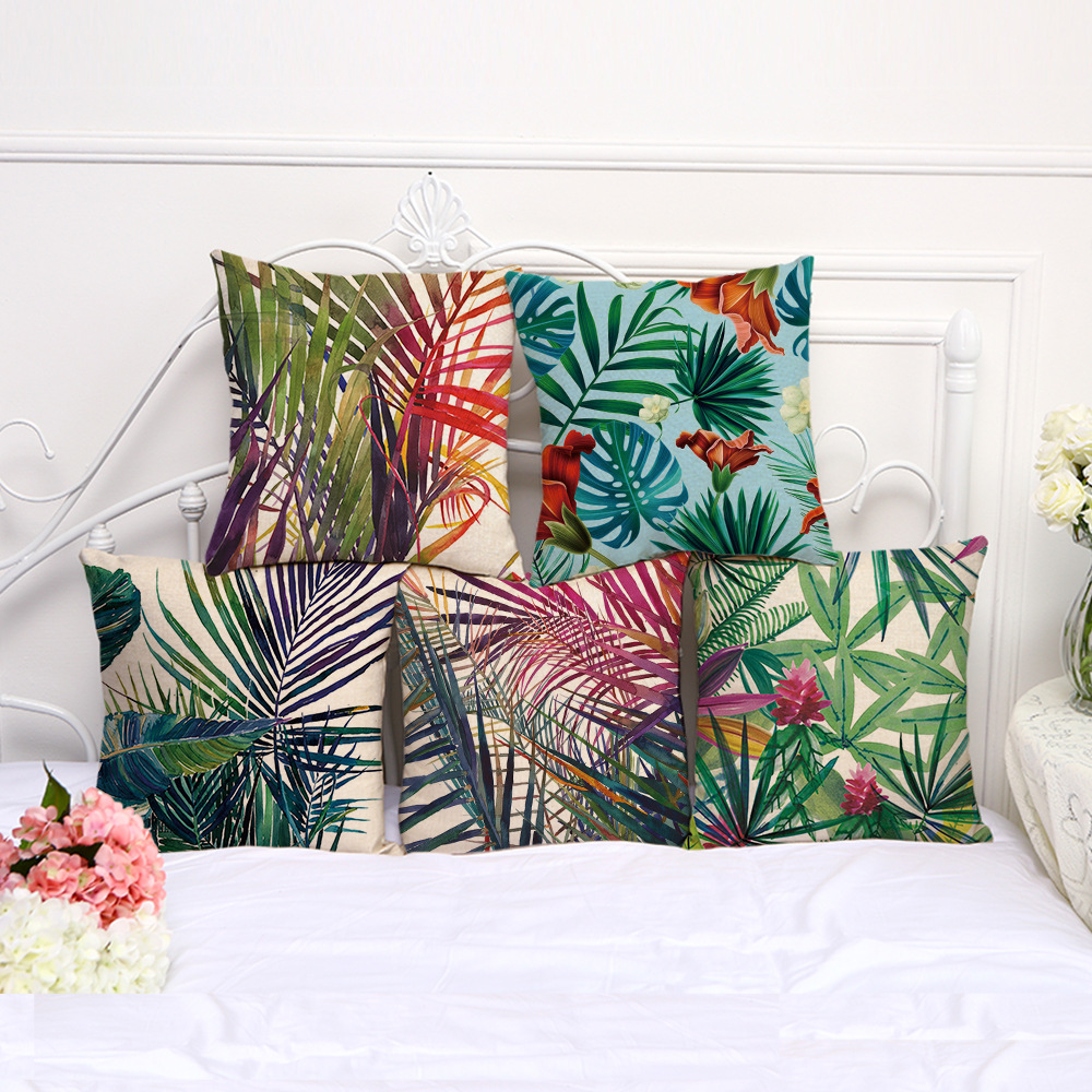Тропикалық өсімдіктер иллюстрациялар жастығымен жасырады Куштар Гүлдер Пальмалық ағаштан жасалған жастықтың мұқабасы Сәндік зығырдан жасалған мақта жастықшасы