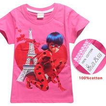 Ladybug Girl Magic Cartoon T-Shirt 4-12Y Girl T-Shirt Summer Short Sleeve Boy Tops Teen Clothes Child Shirt girls outfits