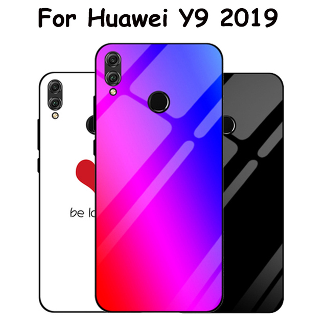 on sale 8e04f 63ef4 US $4.8 9% OFF|Aliexpress.com : Buy For Huawei Y9 2019 case Fashion  Gradient Tempered Glass Case For Huawei Y9 2019 Silicone Frame Glass Hard  Back ...