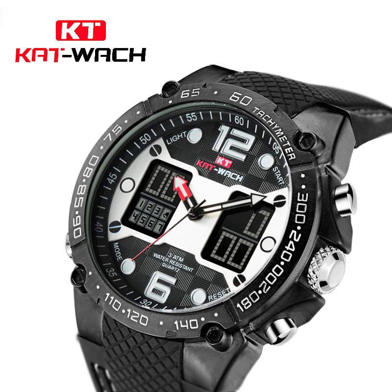 KAT-WACH Sport Men Digital Watch Men Led Dual Display Waterproof WristWatch Wrist Army Male Clock Relogio Masculino Hodinky 27 criancas relogio 2017 colorful boys girls students digital lcd wrist watch boys girls electronic digital wrist sport watch 2 2