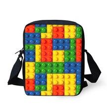ELVISWORDS Desinger Women Messenger Bags Building Blocks Printing Shoulder Bag Casual Handbag for Fashion Kids Mini Mochila