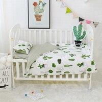 3 Pcs Set Bayi Set Tempat Tidur Kapas Murni Flamingo Abu-abu Awan Pola Crib Kit Termasuk Sarung Bantal Selimut Penutup Tempat Tidur Datar lembar