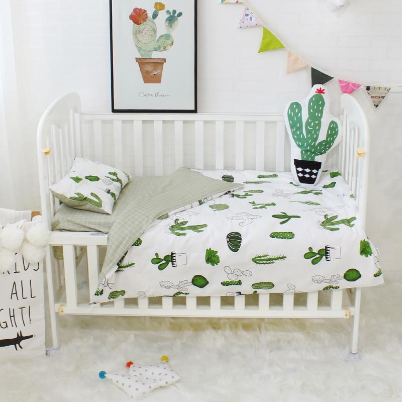 3 Pcs Set Baby Bedding Set Pure Cotton Flamingo Grey Cloud Pattern Crib Kit Including Pillowcase Duvet Cover Cot Flat Sheet