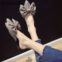 SUOJIALUN  2019 Spring Women Gingham Mules Slipper Ladies Bow-knot Slip On Flats Female Slides Elegant Woman Shoes