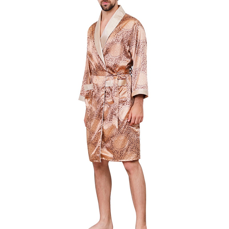 Mens Fashion Summer Luxurious Silk Printed Robes 2019 New Long-Sleeve Thin Nightgown Soft Satin Comfortable Pajamas